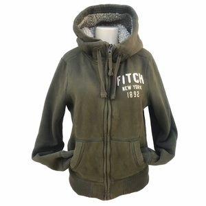 Abercrombie & Fitch Army green Sherpa lined Jacket